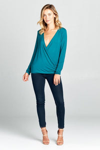 NATURAL BAMBOO LONG SLEEVE SURPLICE TOP-Women's Clothing-J Steed