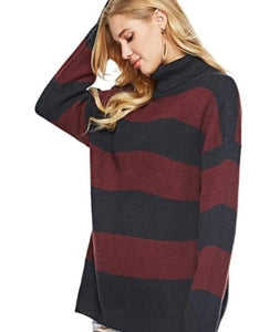 Womens Loose Fit Turtle Neck Stripe Sweaters