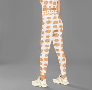 High Waist Orange Print Fitness leggings