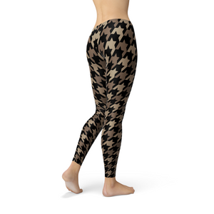Womens Beige Brown Houndstooth Leggings-Leggings-J Steed