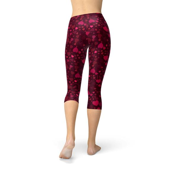 Hearts on Hearts Red Capri Leggings-Leggings-J Steed