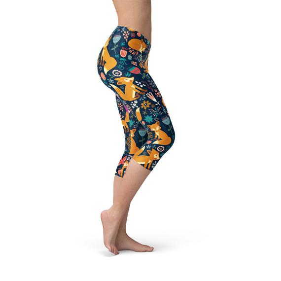 Womens Fox in the Meadows Capri Leggings-Leggings-J Steed
