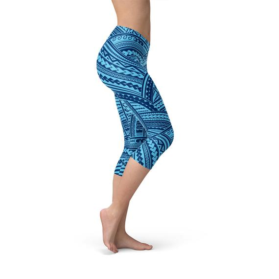 Blue Maori Capri Leggings-Leggings-J Steed