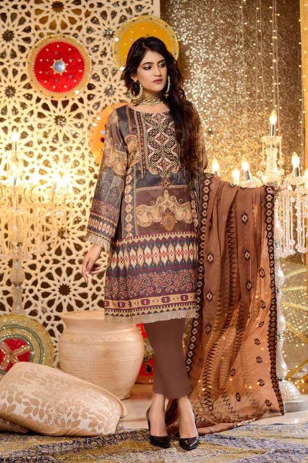 Prasiolite - Digital Embroidered Mesuri Lawn Unstitch (3 Piece)