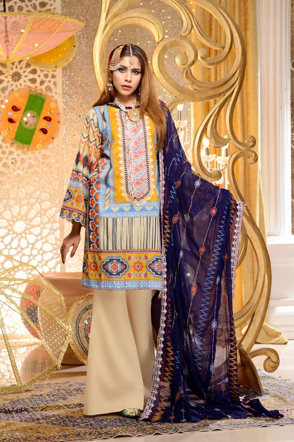 Beryl - Digital Embroidered Mesuri Lawn Unstitch (3 Piece)
