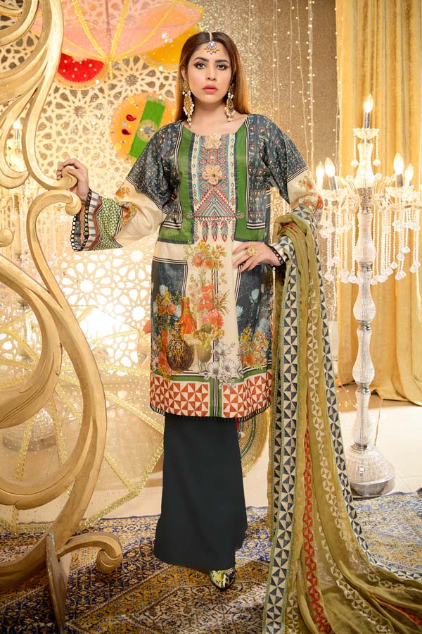Emerald - Digital Embroidered Mesuri Lawn Unstitch (3 Piece)