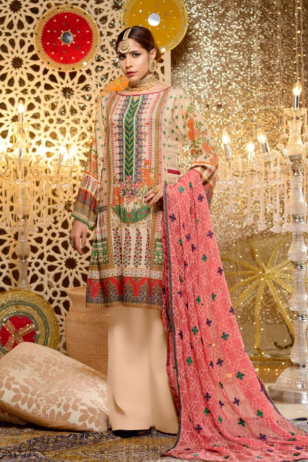 Tourmaline - Digital Embroidered Mesuri Lawn Unstitch (3 Piece)