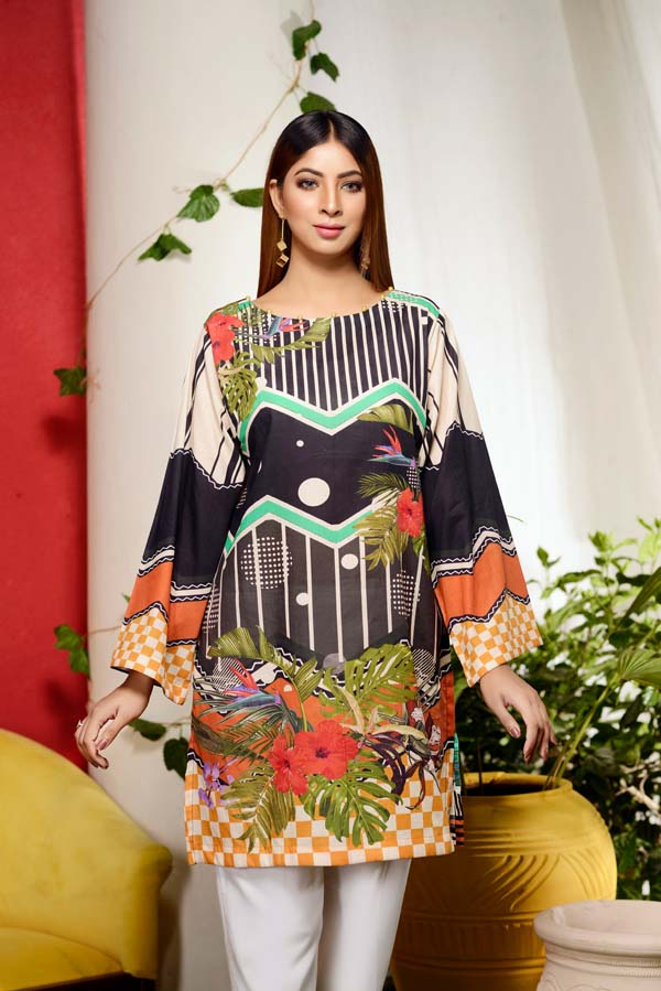 Shamrock Inkberry - Digital Printed Unstitch Lawn Kurti