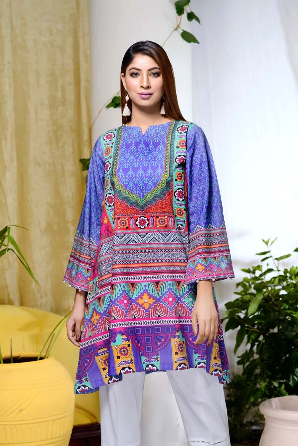 Blue Art - Digital Printed Unstitch Lawn Kurti