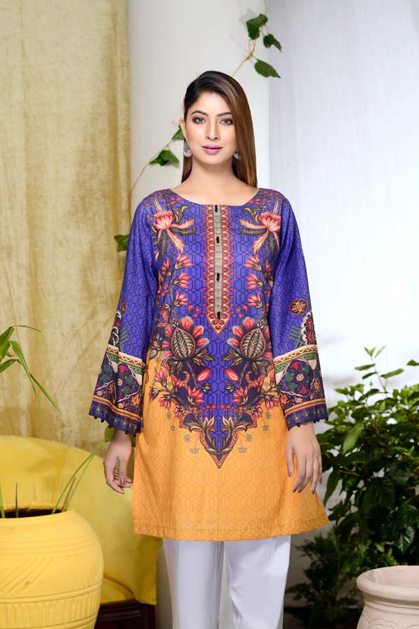 Blu Lune - Digital Printed Unstitch Lawn Kurti