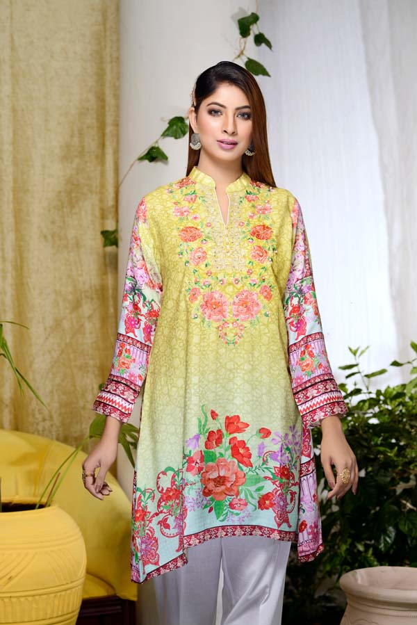 Citron - Digital Embroidered & Hand Embellished Stitched Kurti