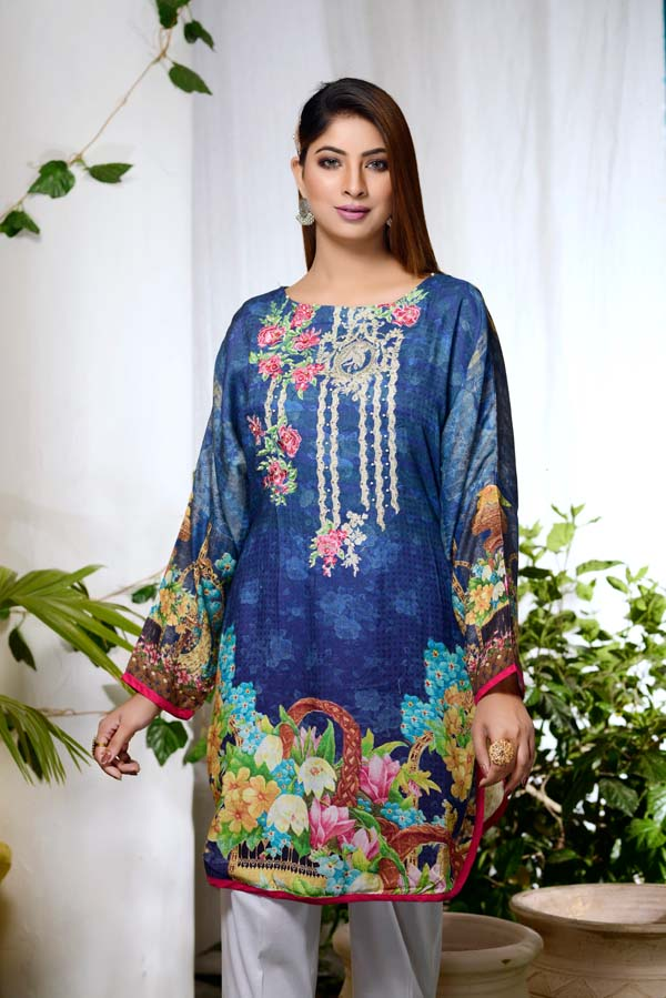 Seagul - Digital Embroidered & Hand Embellished Stitched Kurti
