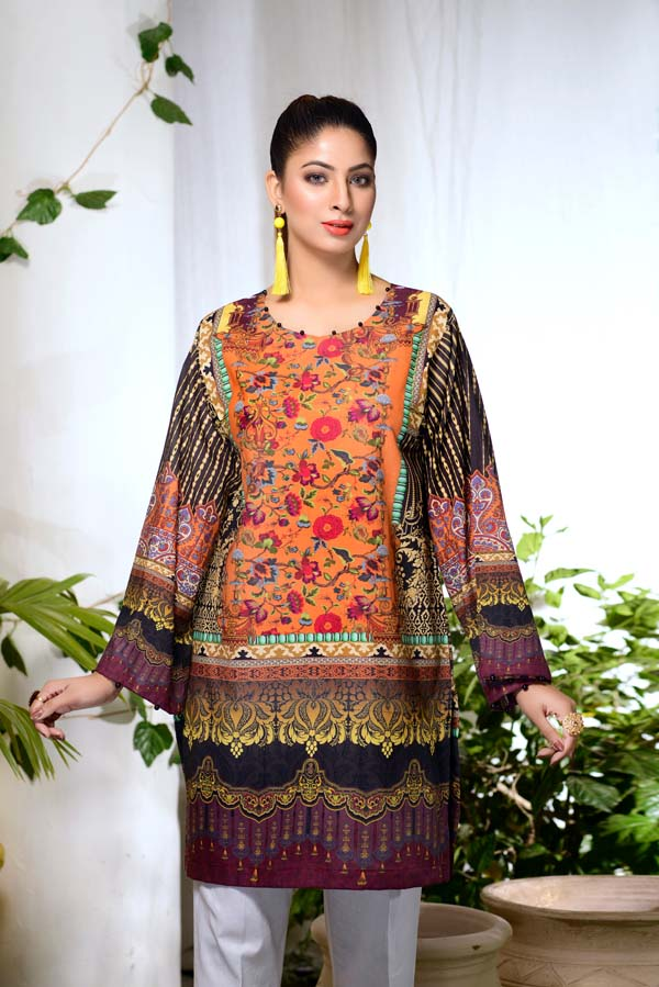 Reginia Flora - Digital Printed Unstitch Lawn Kurti