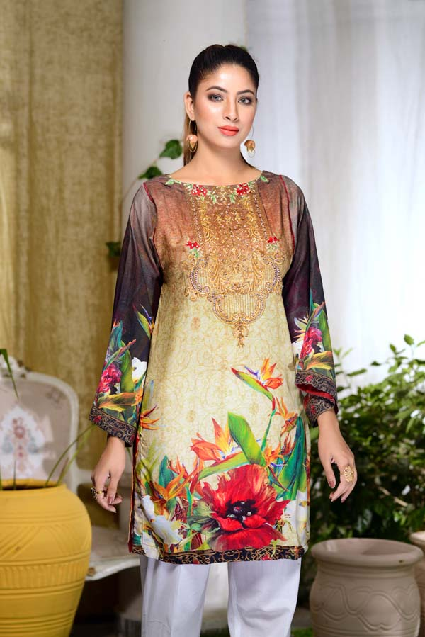 Marigold - Digital Embroidered & Hand Embellished Stitched Kurti