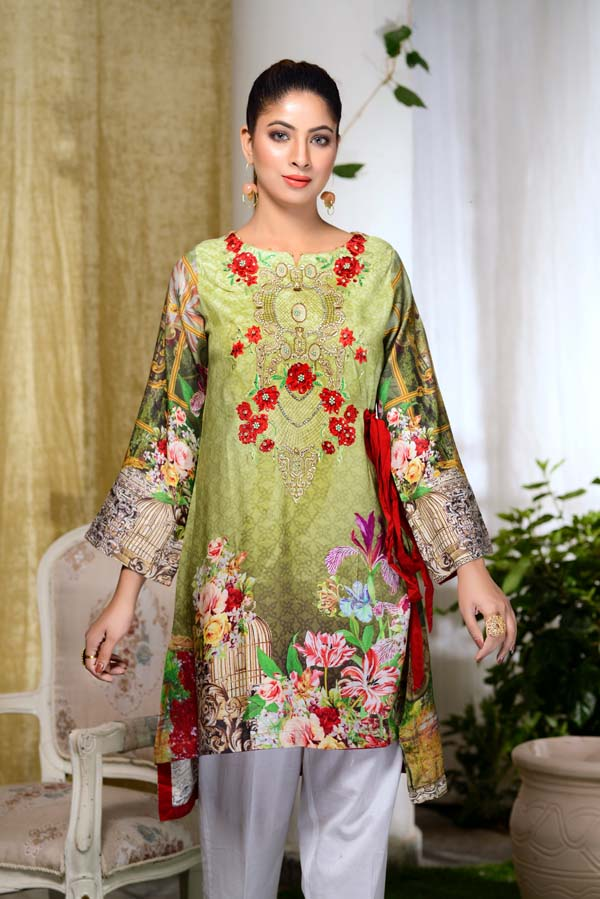 Rose Green - Digital Embroidered & Hand Embellished Stitched Kurti