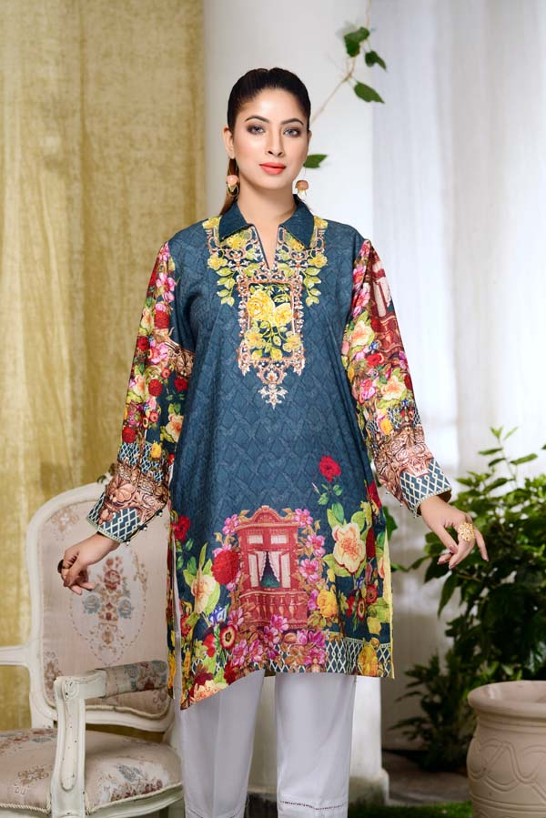 Indigo dye - Digital Embroidered & Hand Embellished Stitched Kurti