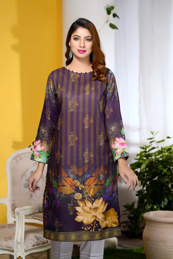 Flook Lore - Digital Printed Unstitch Lawn Kurti