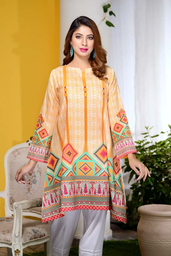 Silky Mond - Digital Printed Unstitch Lawn Kurti