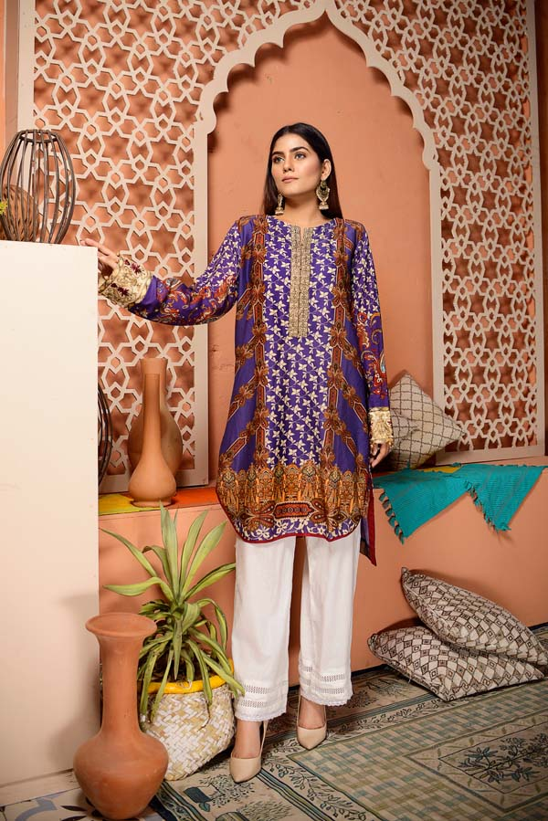 Jacarta - Digital Embroidered Stitched Lawn Kurti