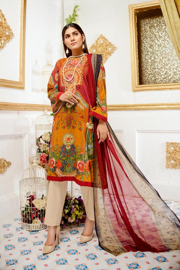 Hevea - Digital Printed and Embroidered Lawn