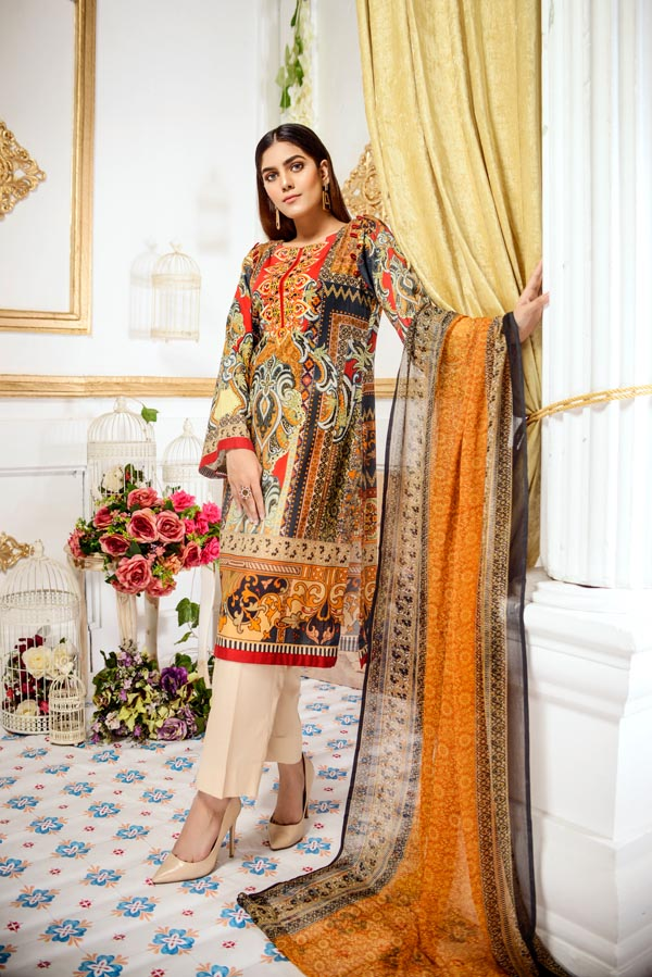 Victoria - Digital Printed and Embroidered Lawn