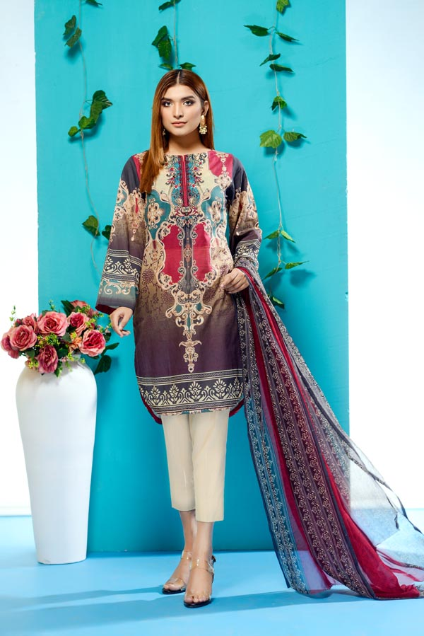 Gracie - Digital Printed and Embroidered Lawn