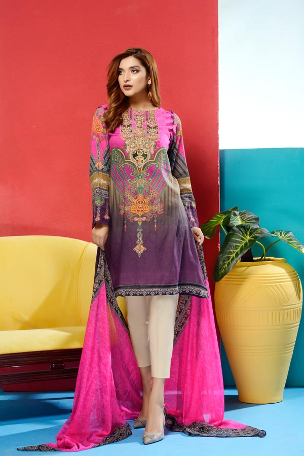 Cleo - Digital Printed and Embroidered Lawn
