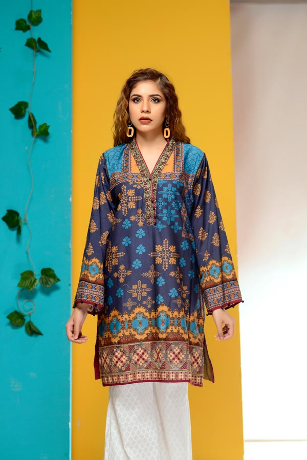 Lapis Lazuli - Embroidered Lawn Stitch Shirt