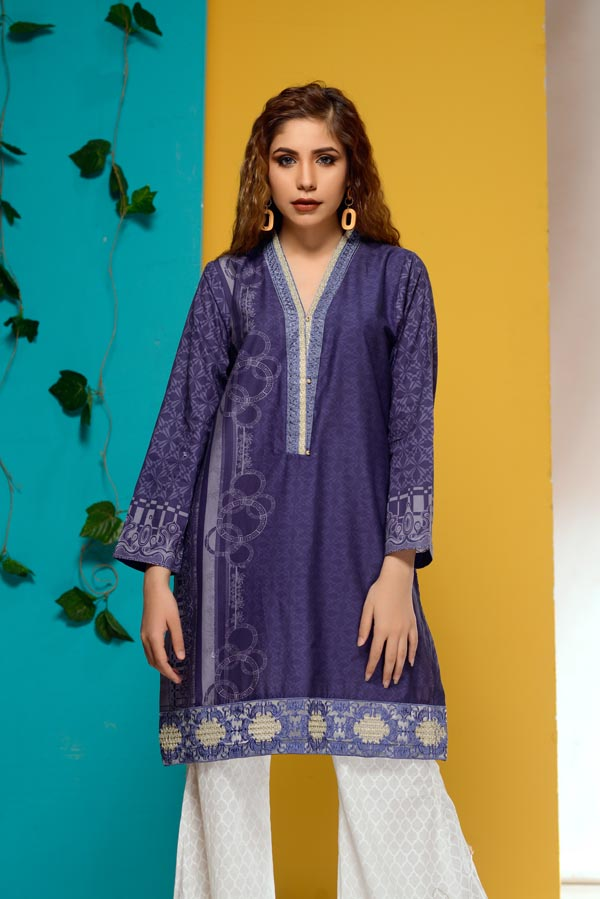 Tanzanite - Embroidered Lawn Stitch Shirt