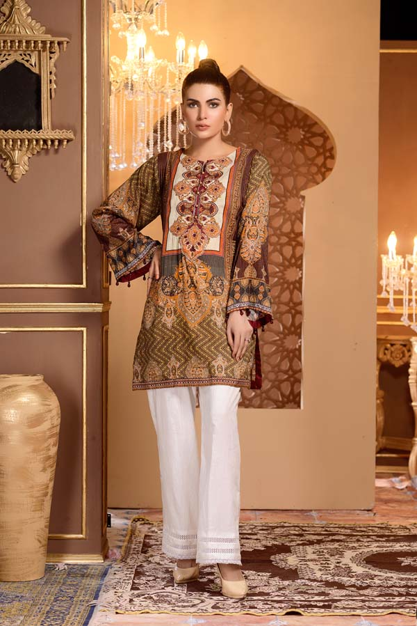 Antique Brass - Digital Printed and Embroidered Mesuri Lawn Kurti