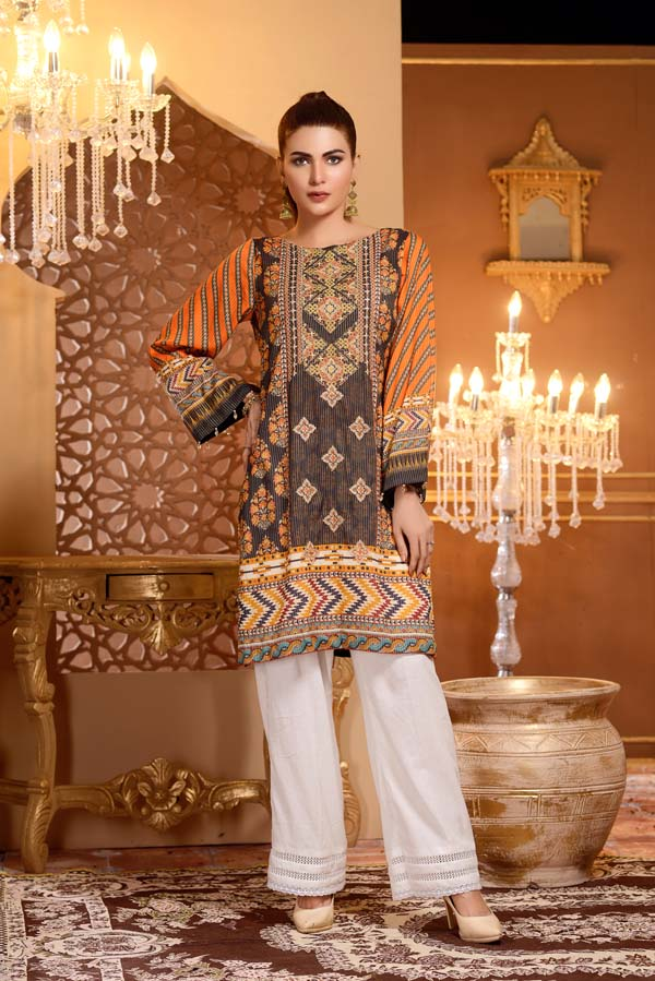 Brown Derby - Digital Printed and Embroidered Mesuri Lawn Kurti
