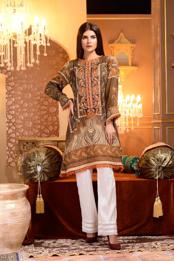 Quincy - Digital Printed and Embroidered Mesuri Lawn Kurti