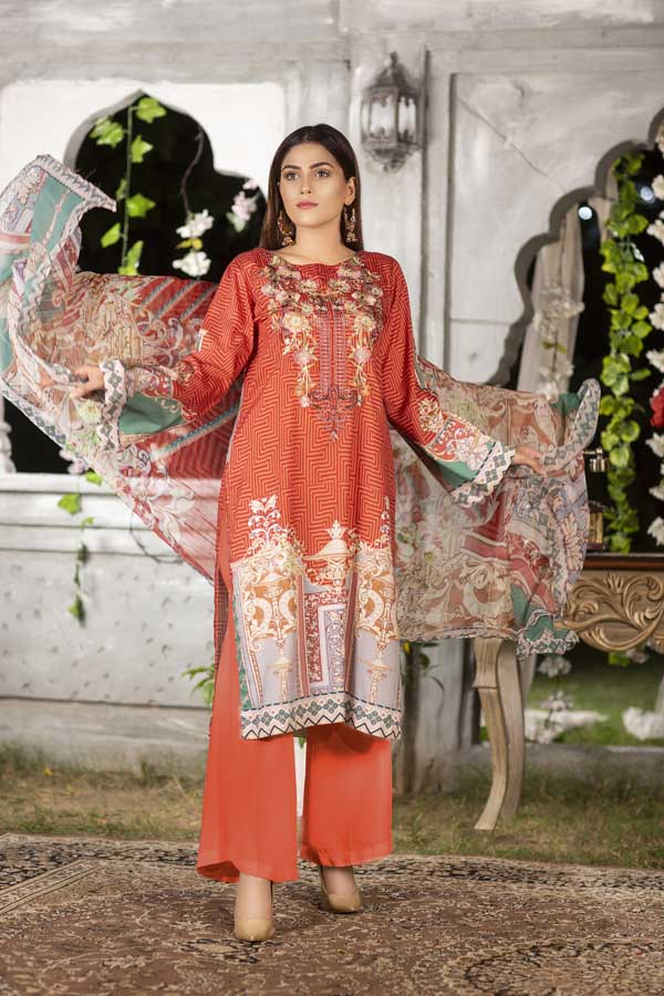 Rouge - Digital Printed & Embroidered Viscose