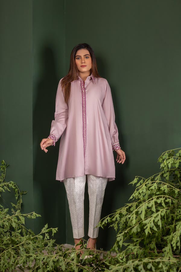 Lilac - Embroidered Lawn Stitch Shirt