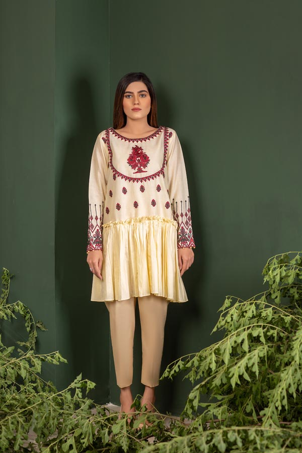 Cream - Embroidered Lawn Stitch Shirt
