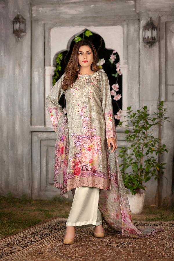Ivory - Digital Printed & Embroidered Viscose