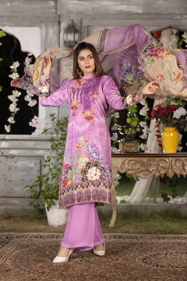 Helio- Digital Printed & Embroidered Viscose