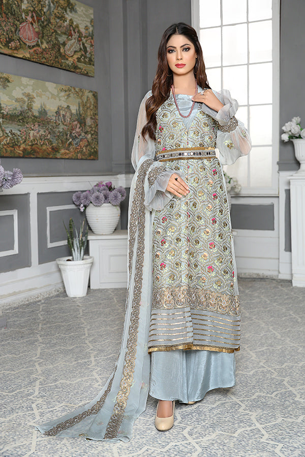 Grey Pearl - Luxury Desire Embroidered Chiffon 3PC