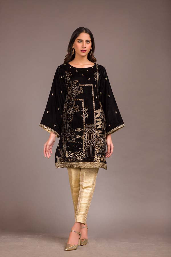 Flecent - Embroidered Velvet Unstitch Kurti