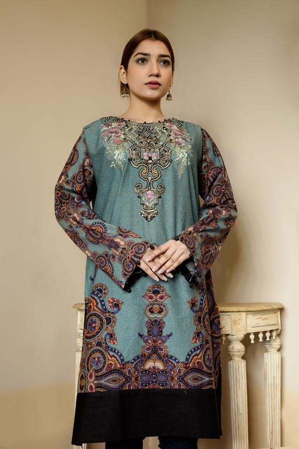 Deep Sea - Stitched Lawn Kurti