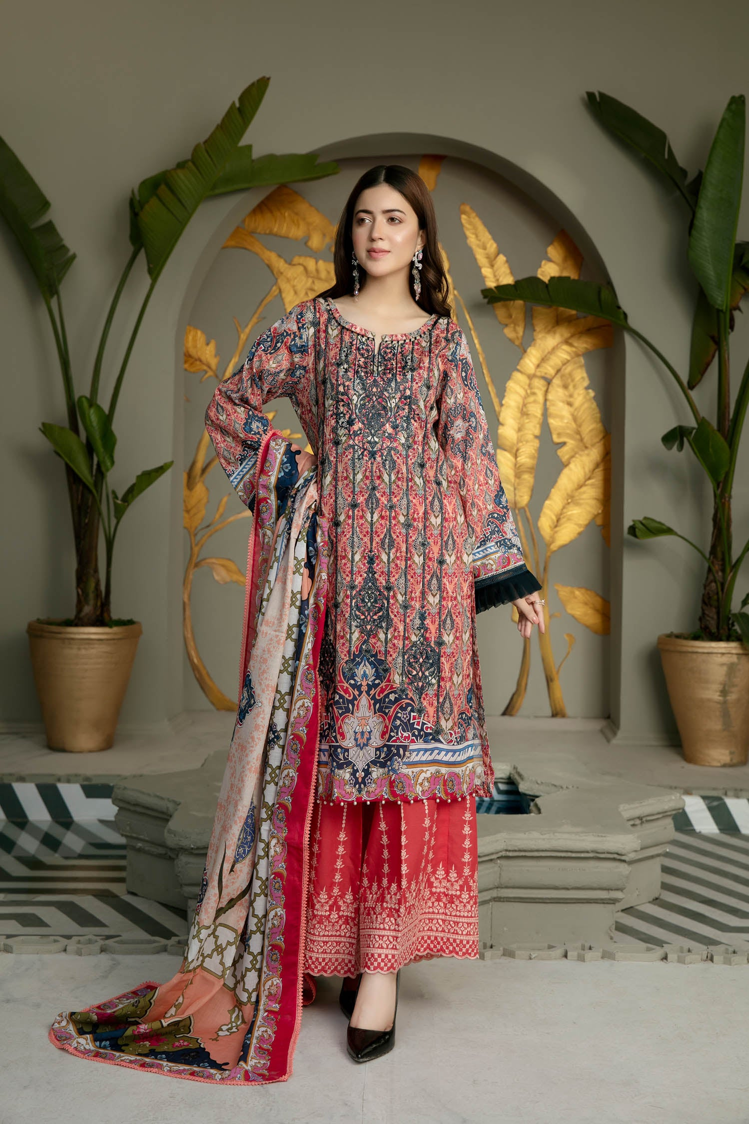 Mix Print - Digital Printed And Embroidered Lawn 3PC
