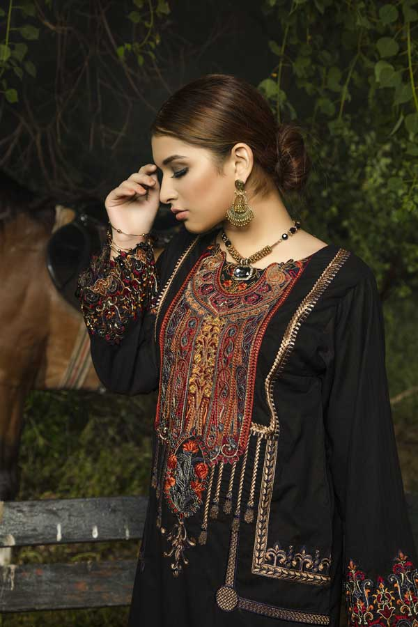 Blond Black - Embroidered Unstiched Lawn Kurti