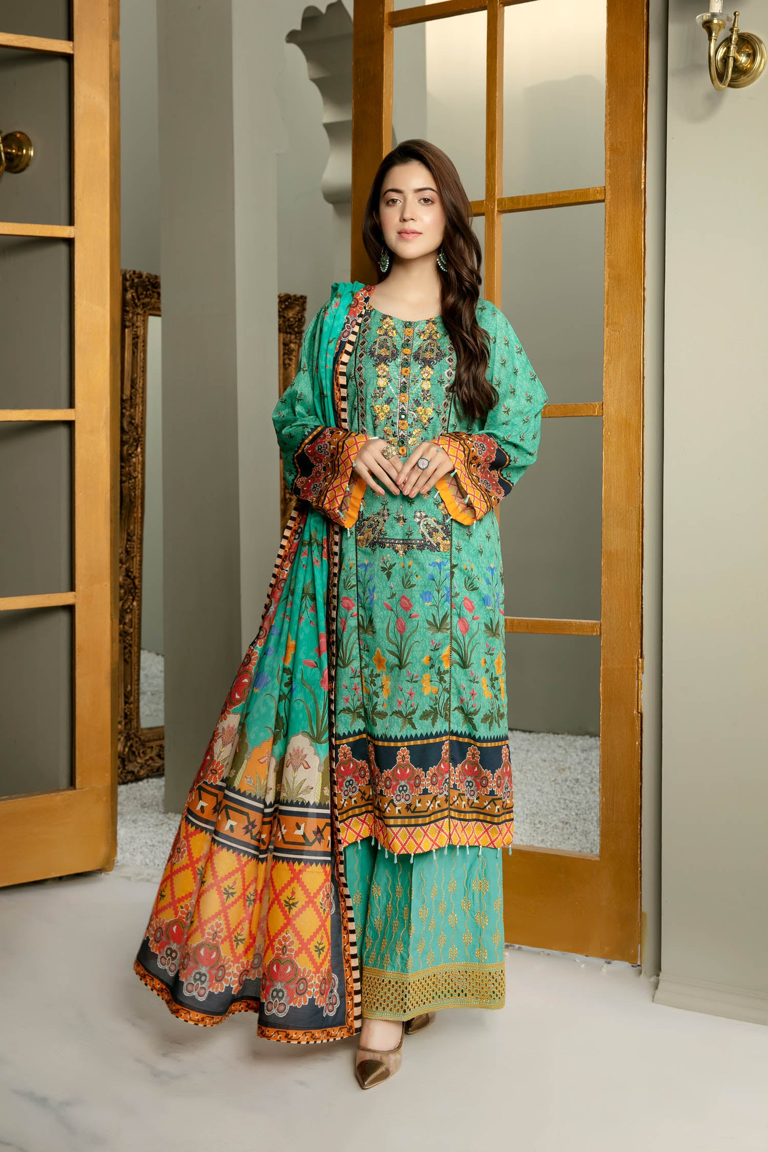 Aqua Cent - Digital Printed And Embroidered Lawn 3PC