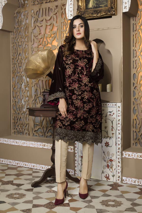 Brown 01 -  Embroidered Velvet Un Stitched (2 Piece)