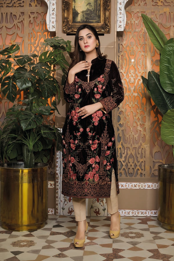 Brown 04 -  Embroidered Velvet Un Stitched (2 Piece)