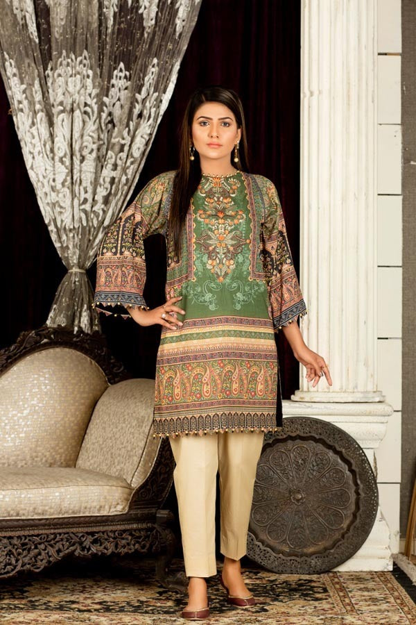 Umber - Digital Embroidered Stitched Lawn Kurti