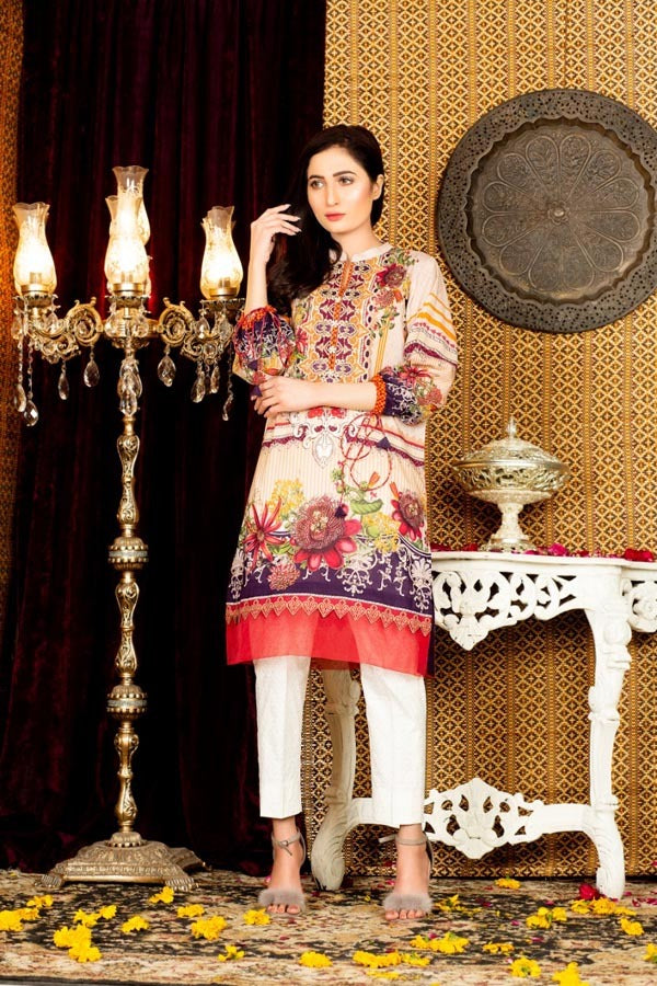 Alabaster - Digital Embroidered Stitched Lawn Kurti
