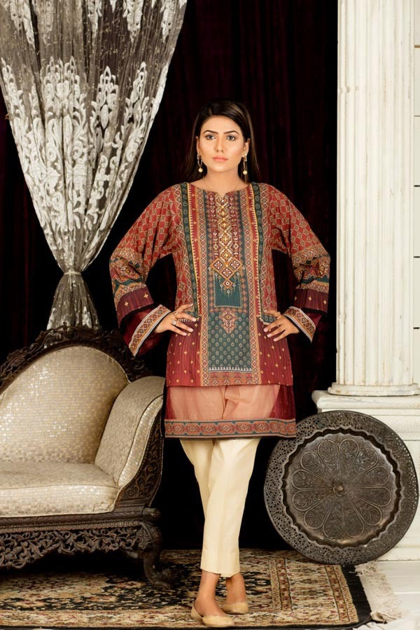 Brown Gladiolus - Digital Embroidered Stitched Lawn Kurti
