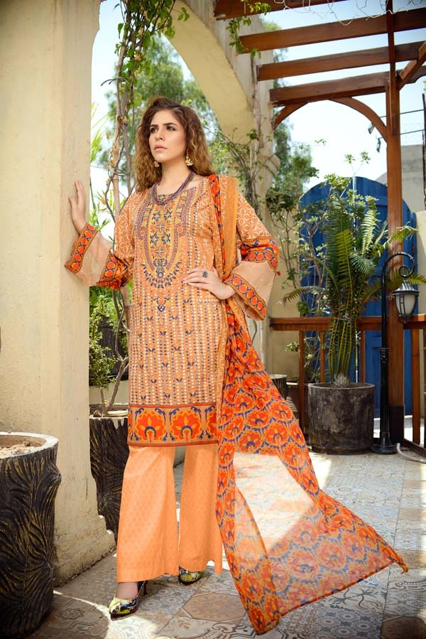 Olivine - Printed and Embroidered Lawn