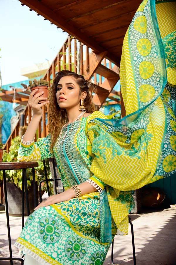 Elie Ruby - Printed and Embroidered Lawn